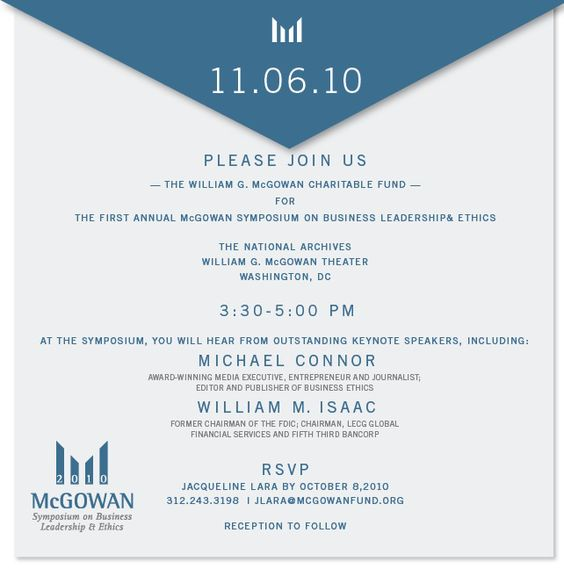 sample business luncheon invitation michael connor to keynote mcgowan symposium on leadership. Black Bedroom Furniture Sets. Home Design Ideas