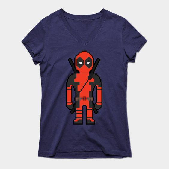 8-bit Deadpool Womens V-Neck T-Shirt