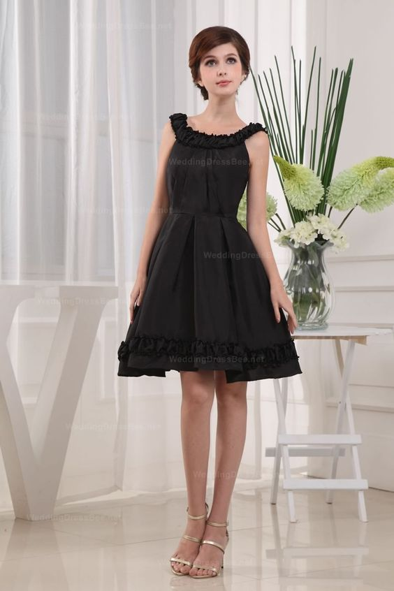 Style No.0sp00657,Bateau Neck Natural Waist With Full A-Line Skirt Taffeta Dress,US$148.98