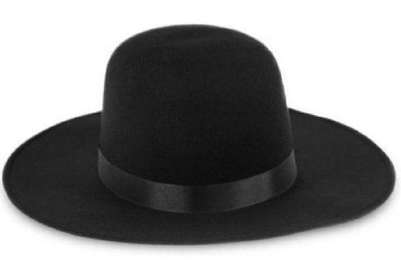 Wide Brim Black Padre Priest Old Western Spanish Amish Billy Jack Hat Costume