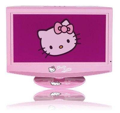 """Der 38 cm (15"""") große LCD Fernseher kommt im Hello Kitty Design und passt mit seinen Farben und Motiven ideal in jedes Mädchenzimmer. Da macht das Schauen der Lieblingssendungen gleich noch viel mehr Spass!"""