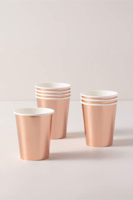 New View Talking Tables Rose Gold Paper Cups