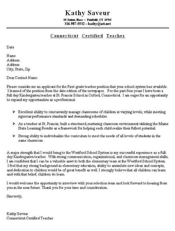 first grade teacher cover letter example job search pinterest - Build A Cover Letter
