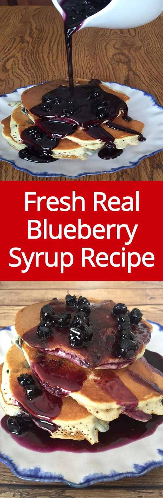Homemade Blueberry Syrup Recipe - easy to make, amazing on pancakes and ice cream! | MelanieCooks.com