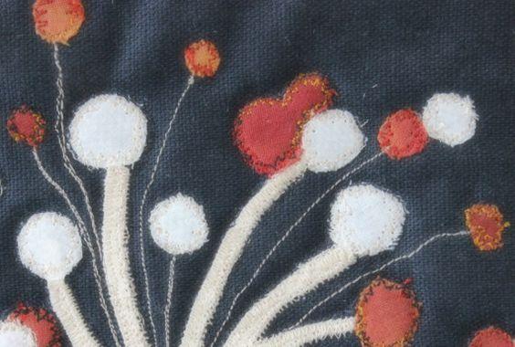 Handmade dandelion art quilt by Heartclay on Etsy