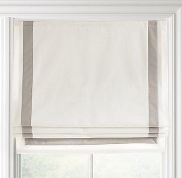 too bad it's $169.00... Appliquéd Frame Cotton Canvas Roman Shade - contemporary - curtains - Restoration Hardware Baby & Child