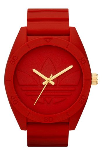 #Adidas Originals 'Santiago Silicone Strap Watch {red}  P.S. I have this watch but in white and gold.