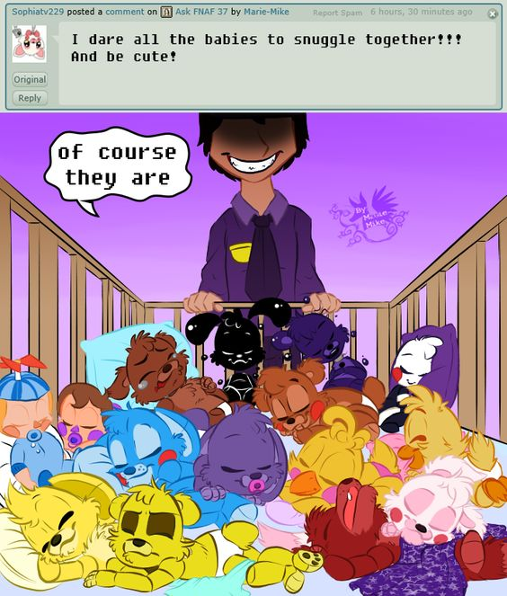 """Ask Fnaf Babies: :""""Look How Adorable And Innocent They Look~"""" This Picture"""