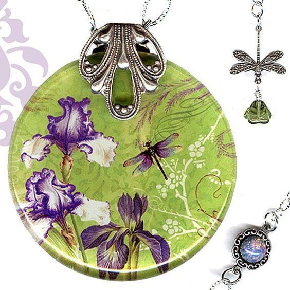 Iris and Dragonfly Necklace - Reversible Glass Art -Voyageur - Nouveau Jardin Collection - Nouveau Plum Iris Garden