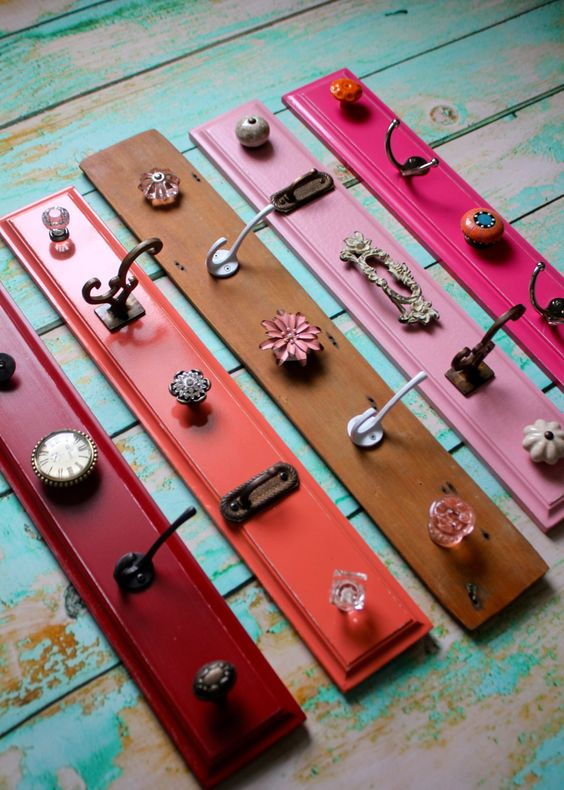 Storage knob Displays in Pinks, Red, Coral, and Shabby Chic Wood. 48.00, via Etsy.