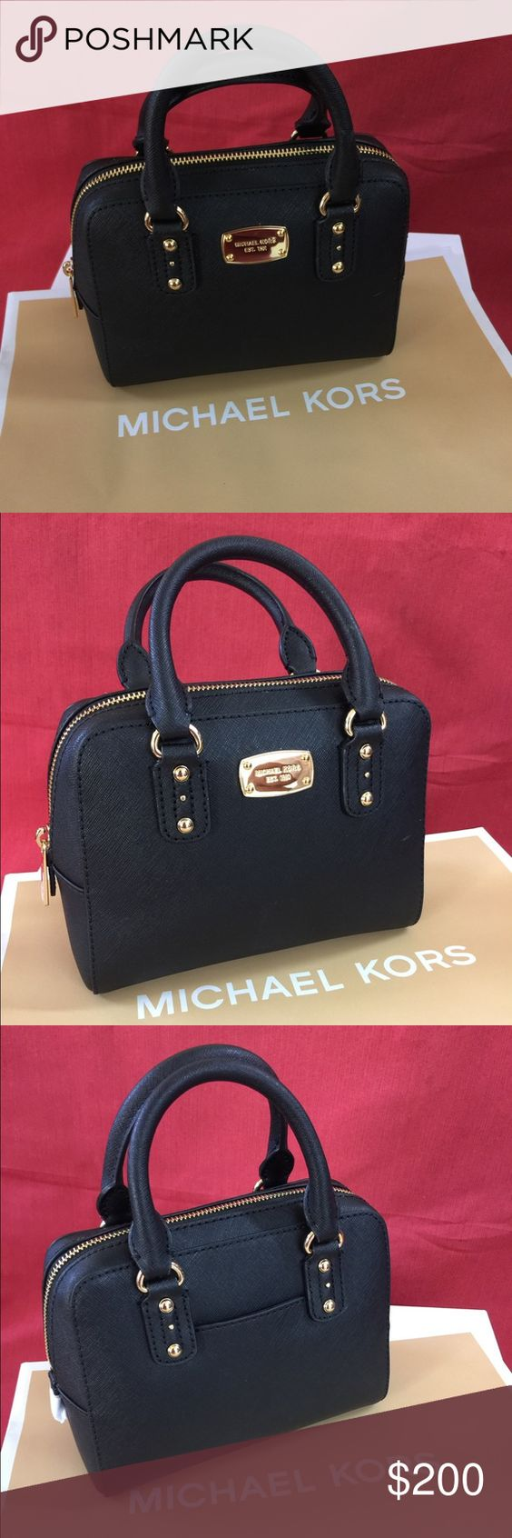 Michael Kors mini satchel 100% authentic Michael Kors mini satchel in the color black. Strap is inside purse to use as a cross body. Offers are welcomed Michael Kors Bags Crossbody Bags
