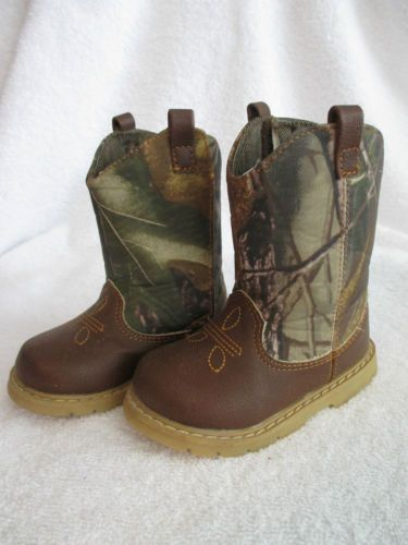 Boys Boots 4 Toddler Mossy Oak Camo Camouflage Vecro Hunting Sports Baby