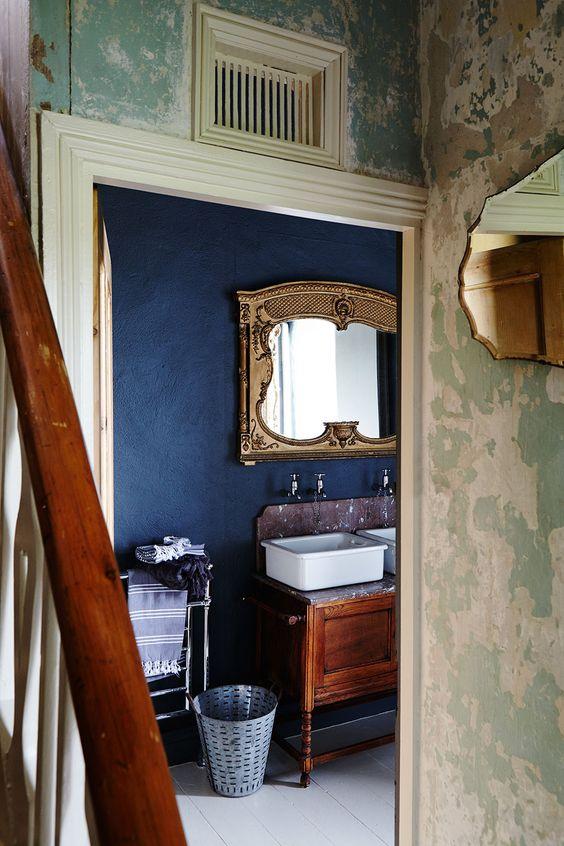 イギリス インテリア トイレ コーディネート例 ウォッシュスタンド 洗面台
