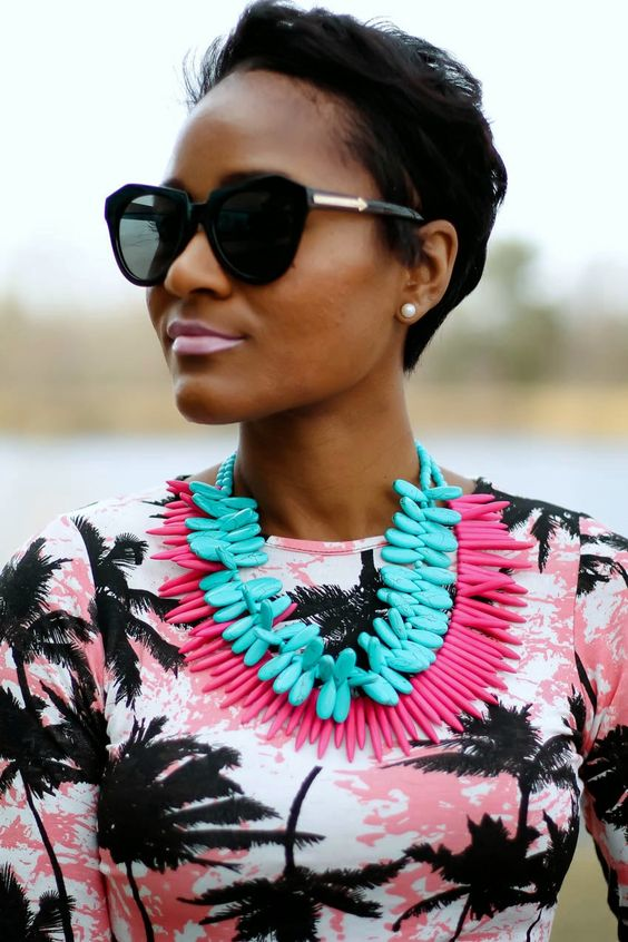 Stacked Colorful Tribal Necklaces: Hair Bead, Outfit Ideas, Statement Necklace, Street Style, Fashion Blog, Featuring Outfit, Cut Glass