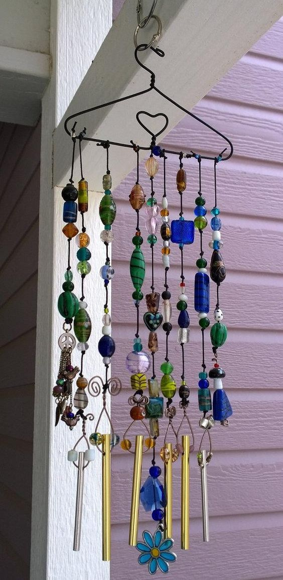 Glass beaded wind chime on 6 doll hanger with heart for Wind chime craft projects