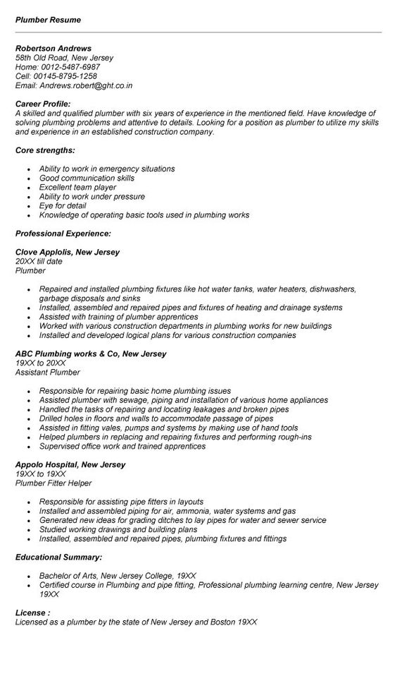 Plumber Resume Example diy Pinterest Resume examples and Resume - plumbing resume