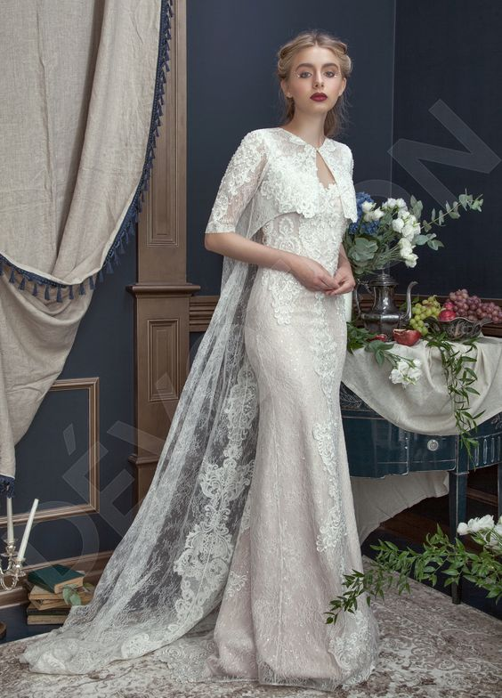 Caren Two in one Lace Chantilly Wedding dress Powder