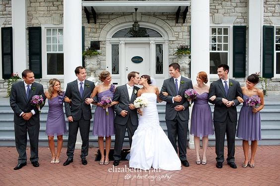 Charcoal gray suits, purple ties…Whole wedding is gorgeous, but couldn't pin it.—esxcept for with the guys having navy blue ties or even yellow  | followpics.co