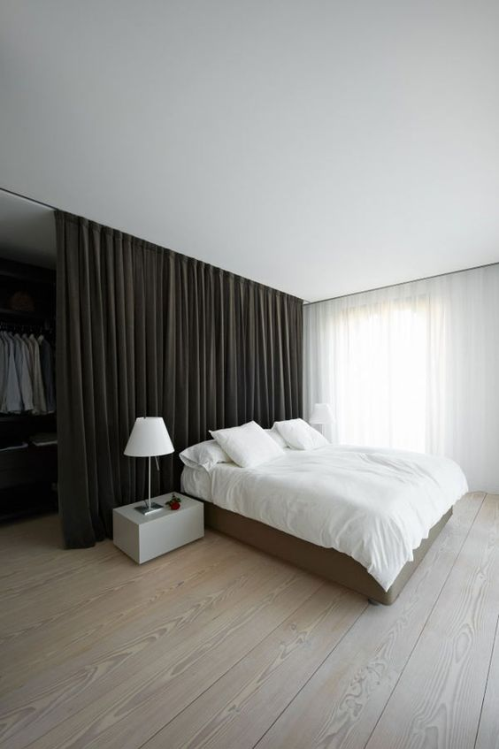 Minimalist.  Wardrobe behind curtain for a room with no closet. Visit My Bedroom…