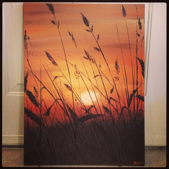 Sunset landscape original acrylic painting on canvas | Acrylic ...