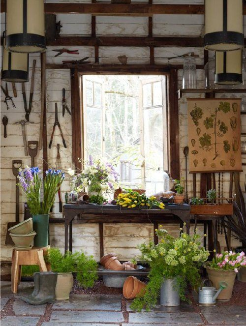 Potting shed - love the look of the whitewashed walls. Just might be doing this in mine!:
