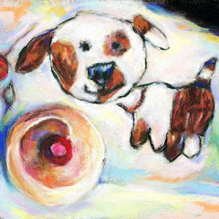 PUPPY LOVES CUPCAKES - ©Susan E. Roden; Recreated Zahra Franco-Roden's puppy art coupled with a cupcake.