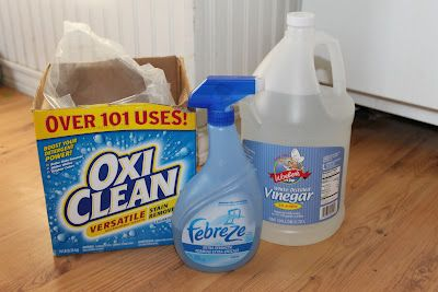 1 1/2 scoops Oxyclean  1/4 cup white vinegar  1/4/ cup Febreze (or other generic spray)    Mix together with a gallon of hot water and add to machine.  Any vinegar smell will fade away quickly, although my friend didn't notice any smell at all. worked great on dog stains and odors.