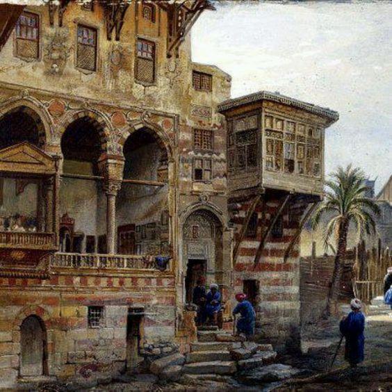 Екстериор на къщата на Метлук Радуан Бей, Кайро Акварел Кайро (рисувана) 1870 Художник: Дилън, Франк Ри, роден 1823 - починал 1909 (художник)