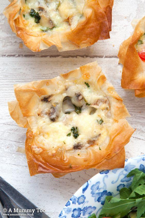 Filo pastry mini quiches