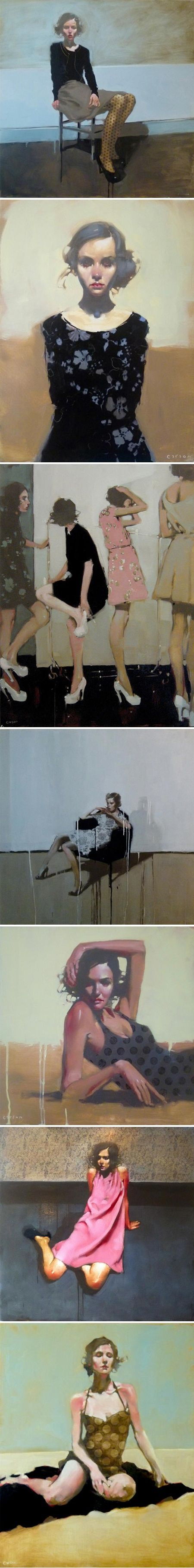 American painter Michael Carson. Influenced by the paintings of Toulouise Loutrec, John Singer Sargent, Norman Rockwell, Malcolm Liepke, and Milt Kobayashi, Michael Carson is primarily a figurative Artist who likes to tell a story.