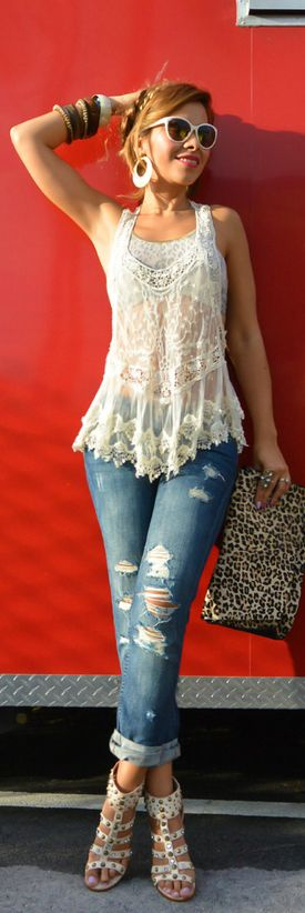 Beautiful Lacey Halter Flared #Blouse, Ripped Jeans, Strappy Sandals: