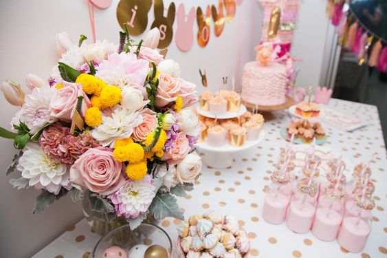 pink-gold-bunny-first-birthday-dessert-table: