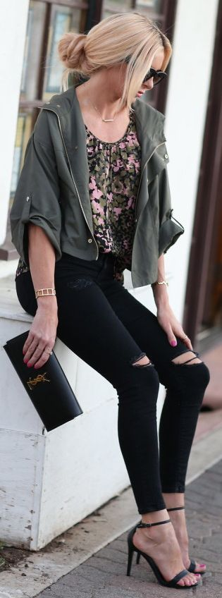 Lyndi In The City Utility Jacket On Floral Blouse Fall Inspo