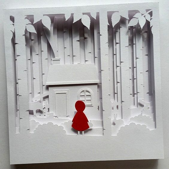 "Image of ""Little Red"" Shadow Box Papercutting Template"