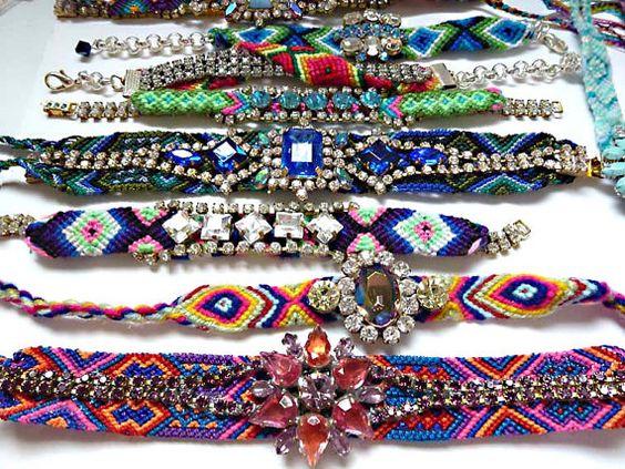 Multi colour rhinestone friendship bracelet by jadorebling on Etsy, $40.00