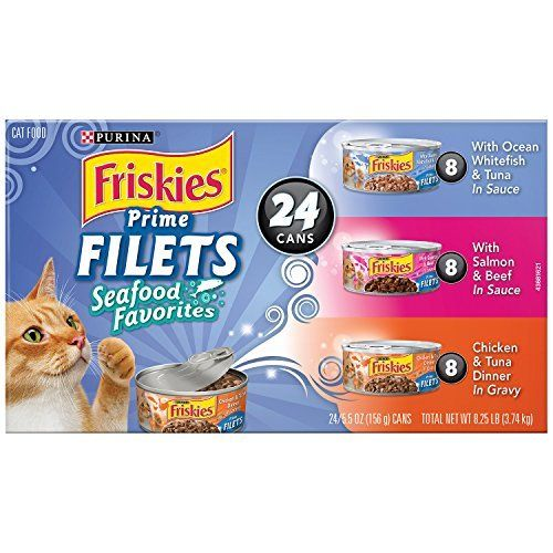 Friskies Wet Cat Food, Prime Filets, Seafood Favorites 3-Flavor Variety Pack, 5.5-Ounce Can, Pack of 24 by Purina Friskies via https://www.bittopper.com/item/friskies-wet-cat-food-prime-filets-seafood-favorites/ebitshopa7e5/
