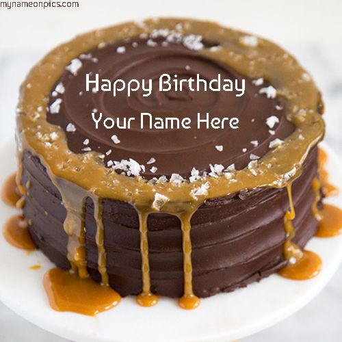 Online Caramel Chocolate Birthday Cake Images With Name For Friend
