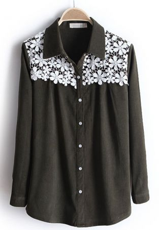 Army Green Lapel Long Sleeve Embroidery Blouse