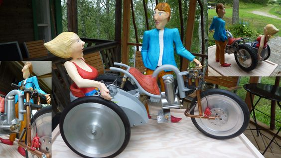 RUDI UND GRETCHEN is a motorbike diorama. Made from a variety of materials - wood , metal , rubber etc. The model is a threewheeler sidecarmotorcycle with working suspension.  Approx length  40 cm  SOLD
