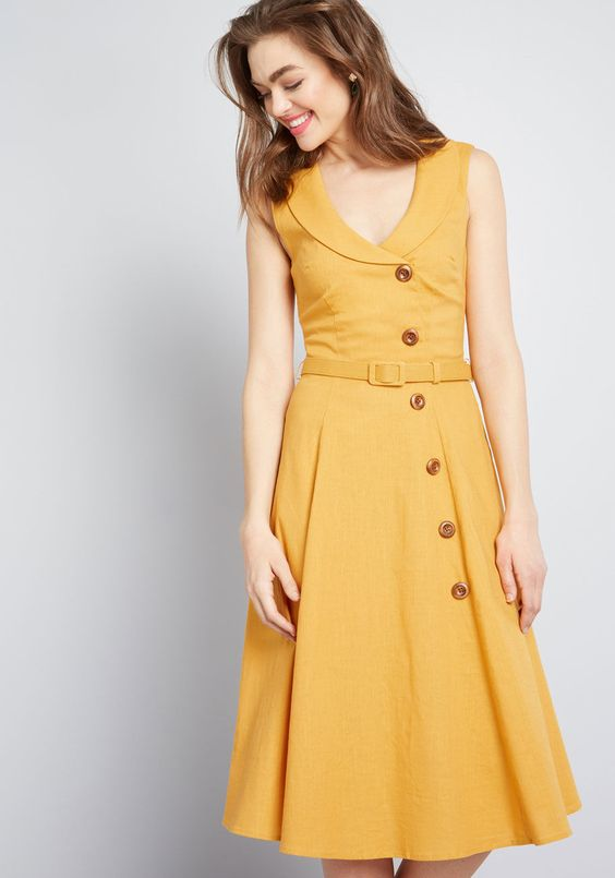 Collectif x MC Dearest Desire Midi Dress in Mustard Yellow
