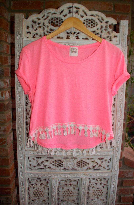 Lace Hi Lo High Low Cropped Tee T Shirt - Boho Hippie Coachella Pink