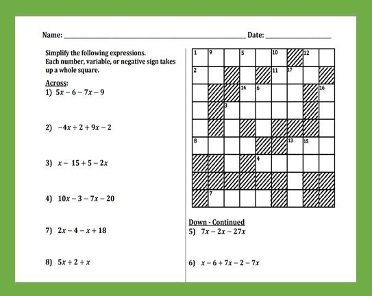 Combining Like Terms Cross Number Puzzle Combining Like Terms Like Terms Number Puzzles
