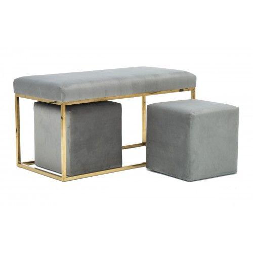 Grey Velvet Bench Gold Legs 2 Matching Footstools Velvet Bench Bench Set Upholstered Bench