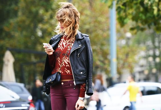 Street style watch: rockin' leather jacket over fab Fall colors at MFW