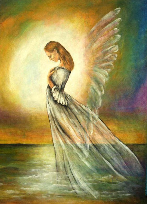 """Engelbild - Ausschnitt aus dem Acrylbild """"Verbunden mit dem Licht"""""""