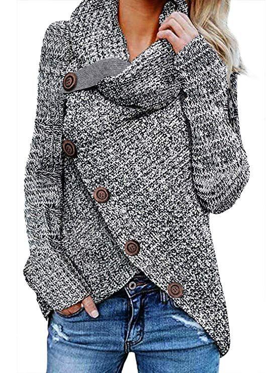 Whear Womens Casual Cowl Turtleneck Asymmetric Hem Wrap Tunic Pullover Button Long Sleeve Stripe Sweater Jumper