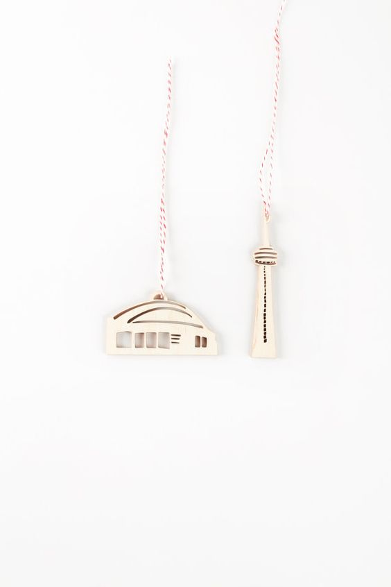 CN Tower and Sky Dome Ornaments Lasercut Birch set by lightpaper