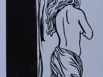 Frau von hinten 2 Linolschnitt