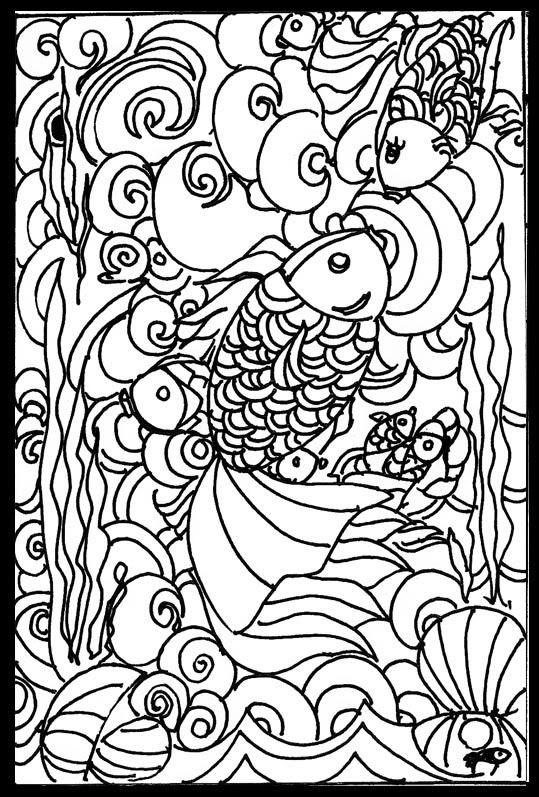 Goldfish Mandala Coloring Pages Kids