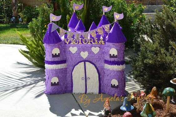 Purple Princess Castle Custom Hand Made Pinata by angelaspinatas www.facebook.com/Angelaspinatas: